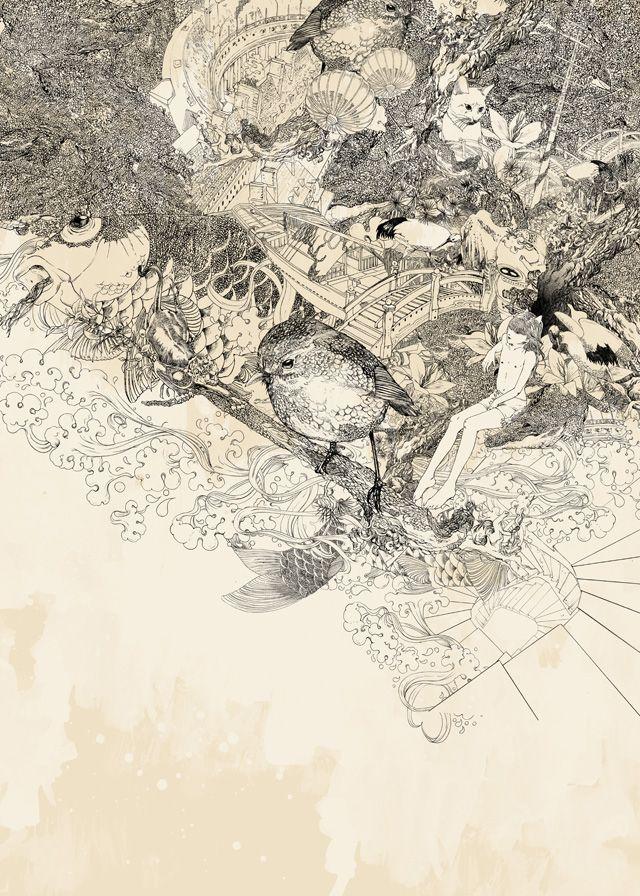 Shan Jiang: Pencil, Moon, Cat, Shan Jiang15, Rice, Illustration, Start Posts, Drawing, Animal