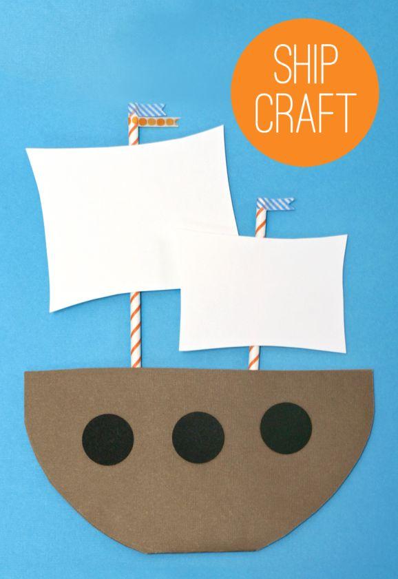 Ship craft: Straws, construction paper, glue