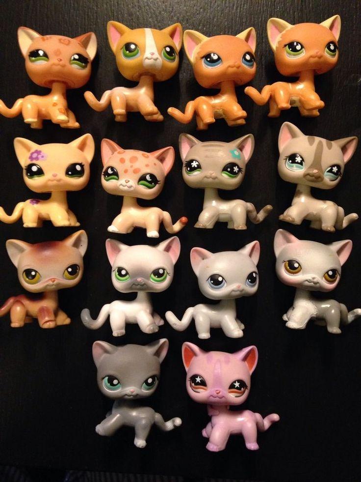 Lot Of 14 Littlest Pet Shop Short Hair Cats Rare
