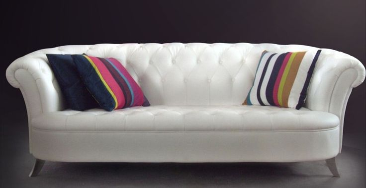 Layla - White Leather Sofa Set with Fabric Chair