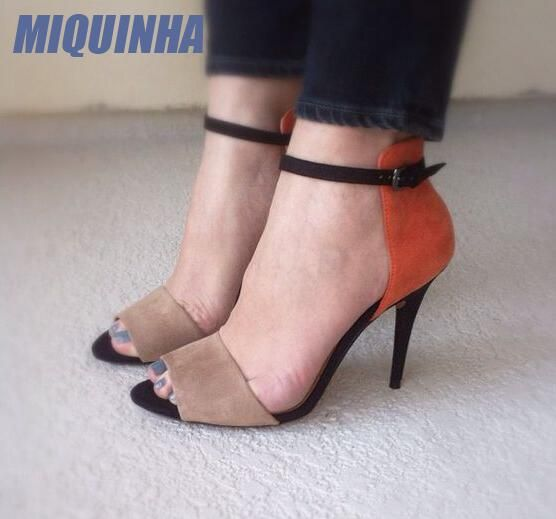 MIQUINHA Fashion Orange Suede Leather Women Sexy Open Toe Sandals Mixed Color Ladies Ankle Buckles High Heels Elegant Dress Shoe