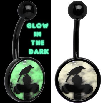 Glow in the Dark Titanium Raven on Cross Belly Ring | Body Candy Body Jewelry #bodycandy #piercings #bellyring