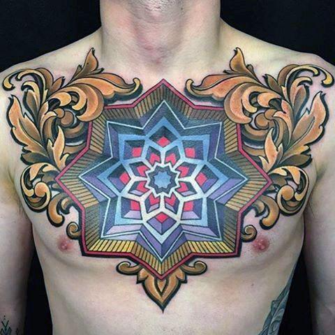 3d ilusión óptica para hombre de filigrana geométricas en el pecho tatuajes