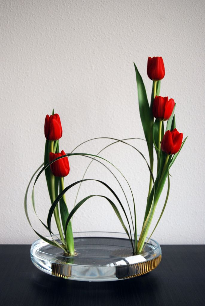 Ikebana 'Building bridges' by Otomodachi on Flickr - http://www.origami-kids.com/flower-photo/tulip-8/3107157511.htm