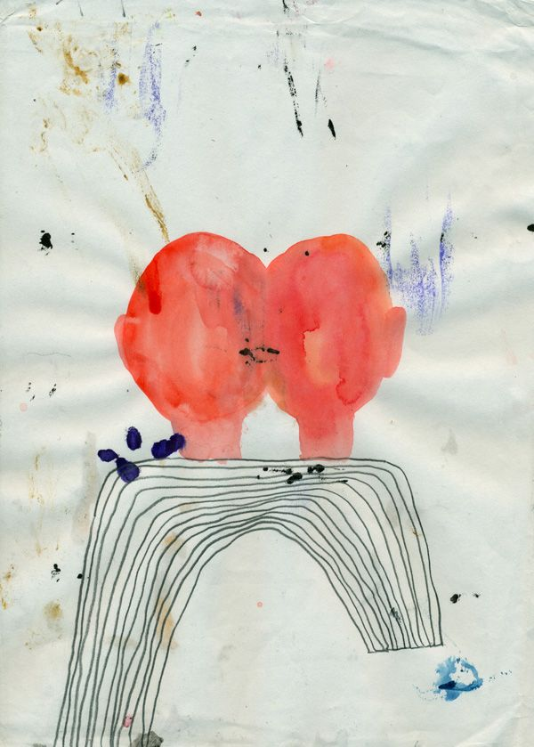 Couple in the mirror - Aquarel pencil on paper - 25 x 18 cm