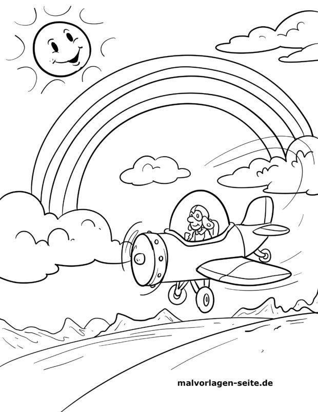Malvorlage Regenbogen Mit Flugzeug Kostenlose Ausmalbilder Kostenlose Ausmalbilder Ausmalbilder Ausmalen
