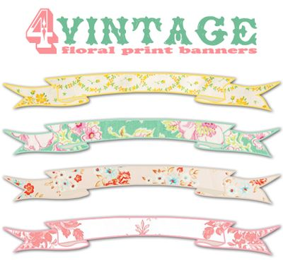 Free vintage floral banners.  This would be pretty to use for stationary or labels.