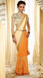 Cream Color Beautiful Designer Sari With Amazing Embroidery Work