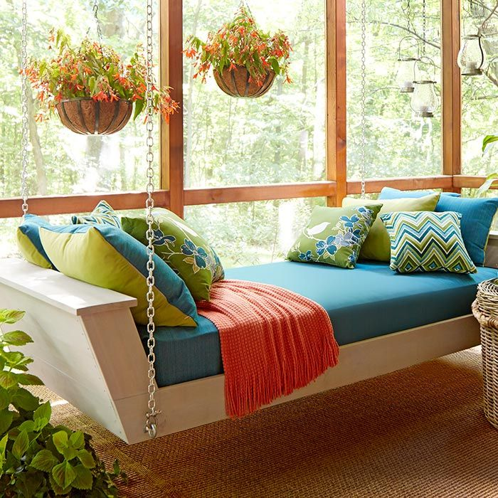 Build this hanging daybed and turn a porch into a restful sleeping place. -- Lowe's Creative Ideas