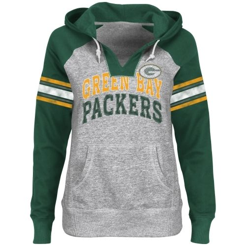 Green Bay Packers Ladies Huddle V-Neck Hoodie - Steel/Green For the game. Even with box seats I think it will be cold.