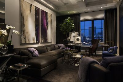 Dark Living Room by Michael Dawkins Home