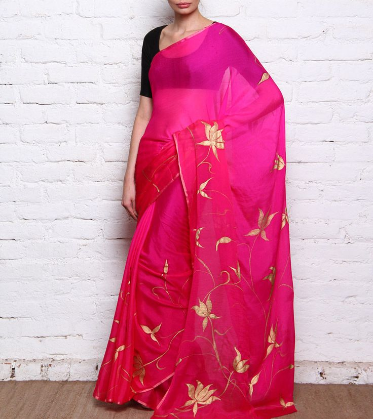Pink & Beige Hand Painted Chiffon Saree by AEkatvam