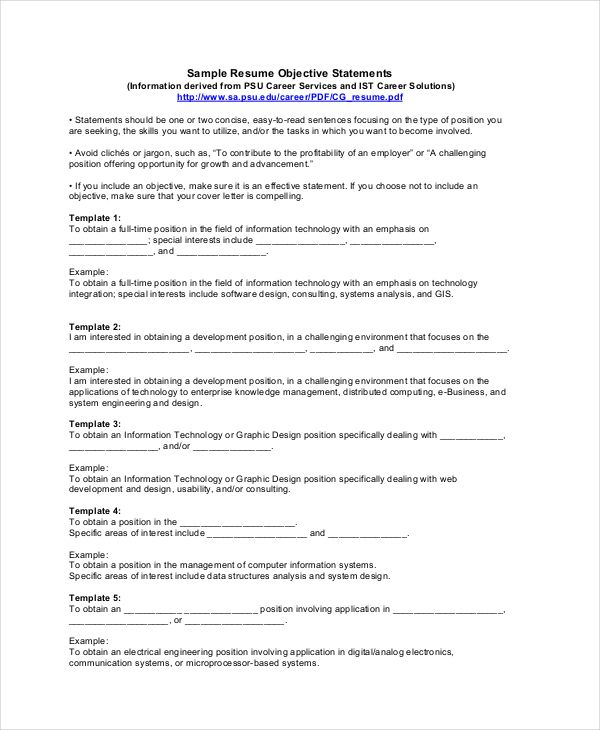25+ parasta ideaa Pinterestissä Examples of resume objectives - sample resume objective statements