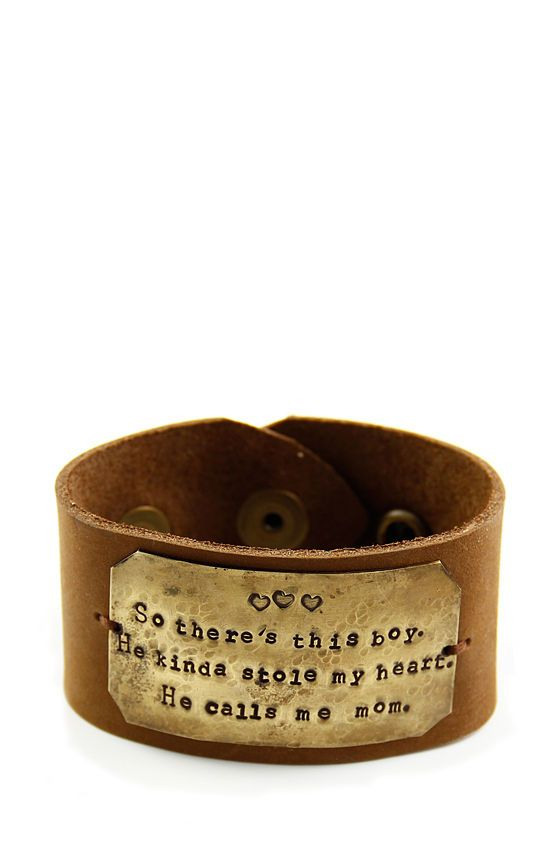 """Chunky Leather Mom's Cuff - Hand Stamped Bracelet-chunky leather cuff, hand stamped cuff, mom's bracelet, brass, """"So there's this boy.  He kinda stole my heart.  He calls me mom."""": Bracelets Chunky Leather, Handcrafted Jewelry, Handstamp, Leather Mom, Mom Cuffs, Leather Cuffs Bracelets, Mom Bracelets, Hands Stamps Jewelry, Mommy Jewelry"""