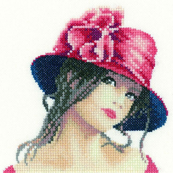 0 point de croix jeune femme au chapeau - cross stitch young lady with hat