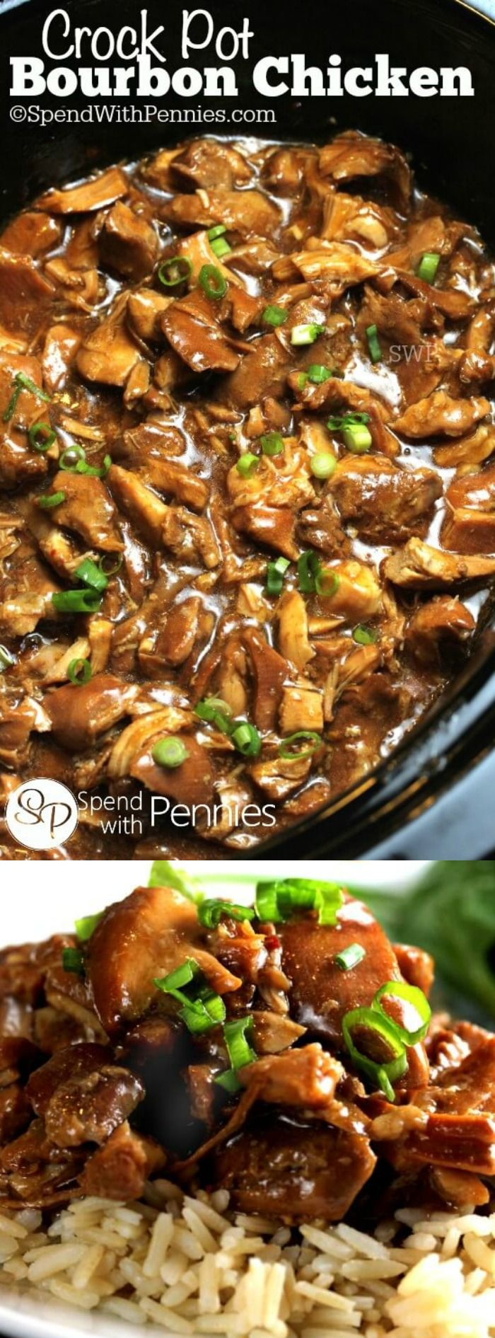 This Crock Pot Bourbon Chicken from Spend with Pennies is a simple and easy dinner to make for your family. The best part is that it tastes amazing and you're family will think you slaved over it all day long!
