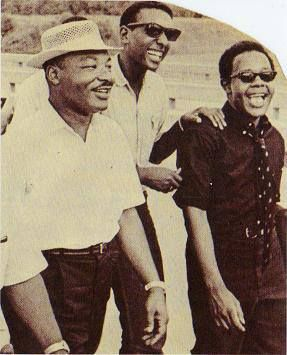 """Dr. King, Stokely Carmichael & Mukasa Ricks during the """"March Against Fear"""""""