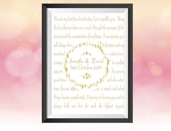 A personal favorite from my Etsy shop https://www.etsy.com/listing/244752344/personalised-wedding-vows-print-keepsake