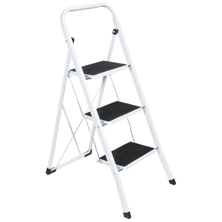 Wide Steps Ladder Safety Small Stool Anti Slip Mat Mini Stepladder Home Foldable