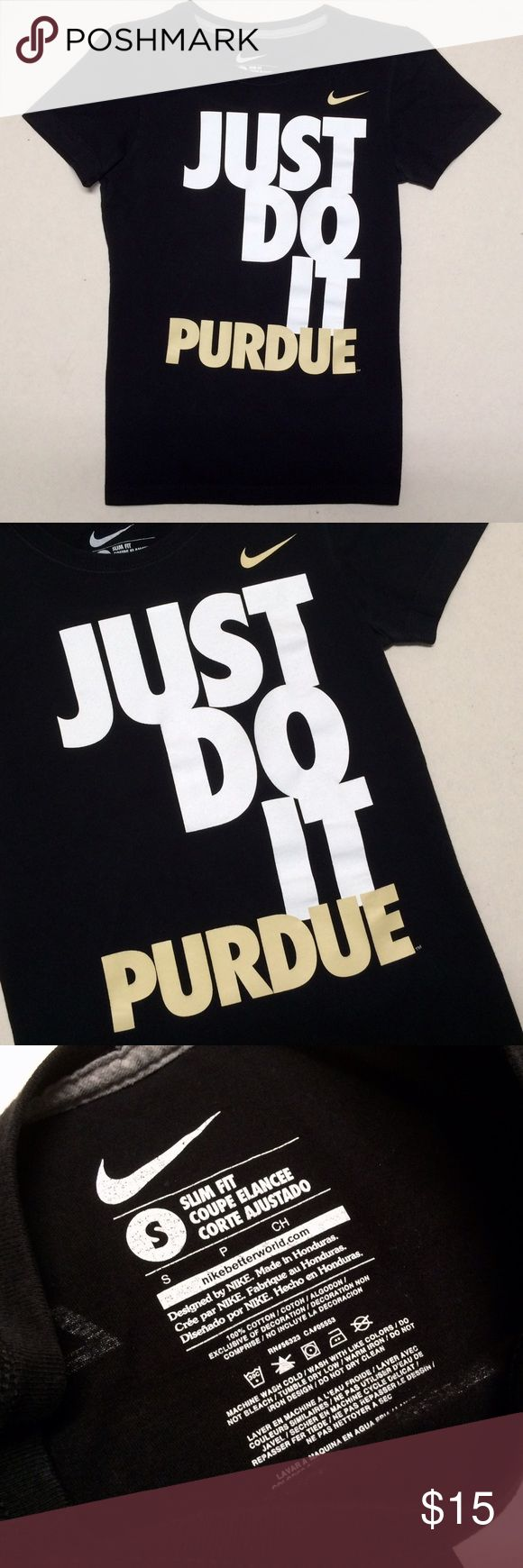 Nike Purdue University Women's Top 🖤💛 Nike - Just Do It Purdue Women's Top Purdue Boilermakers   Size Women's Small  Slim Fit Like new condition!   Boiler Up!! 🚂 Nike Tops Tees - Short Sleeve