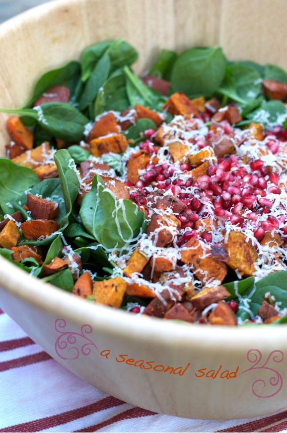 Thanksgiving holiday salad with sweet potatoes, bacon & baby spinach.