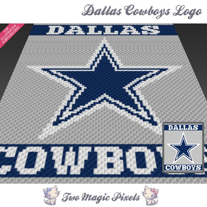 Dallas Cowboys Logo crochet blanket pattern; c2c, knitting, cross stitch graph; pdf download; no written counts or row-by-row instructions by TwoMagicPixels, $3.79 USD