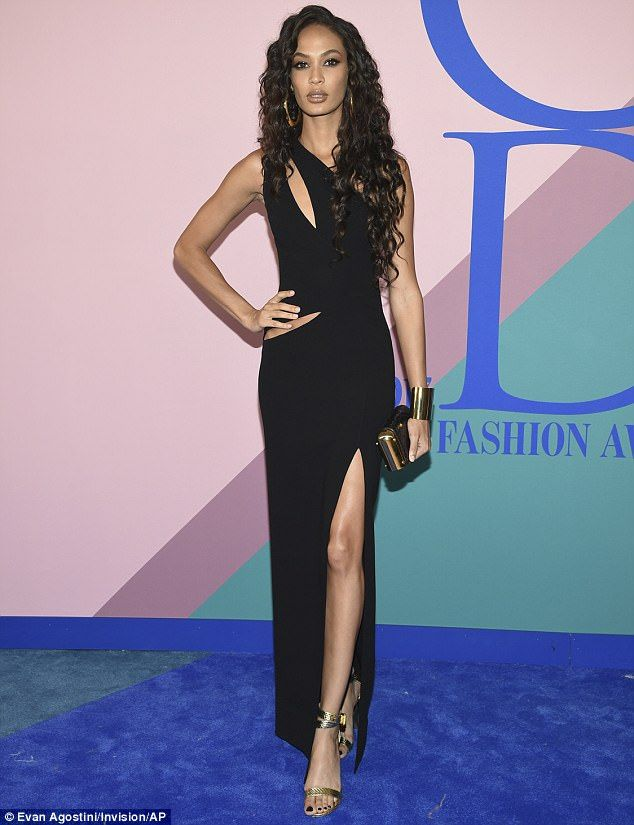 Joan Smalls stuns in floor length gown with high slit at CFDA Awards #dailymail