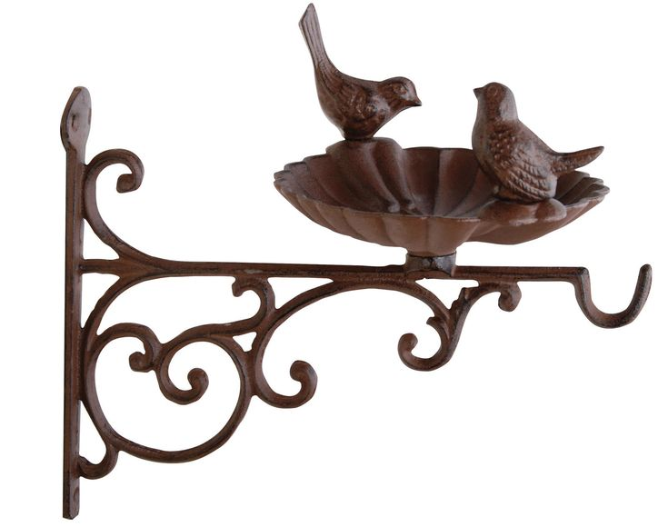 Hanging Basket Bracket Cast Iron with Bird Bath Feeder | eBay