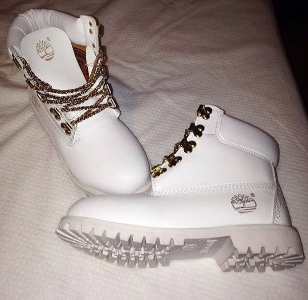 shoes white timberlands boots all white timberlands boots white shoes timberlands timberland white timberlands white gold boots winter outfits love style dope all white everything timbeland white lace trendy tree shorts white timberlands with chain laces timberlands home accessory