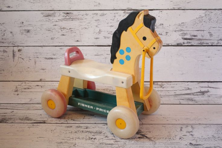 Fisher Price Horse Plastic Ride-on Children's Scooter Push Car Toy Red Green Yellow Blue Accents Black Toddler Pony Ride On…