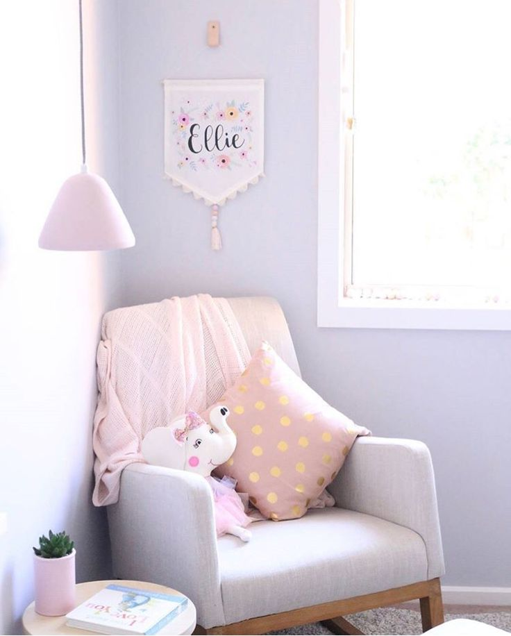 Nursery Chair Corner -  This has such calming but fun colors for the nursery!