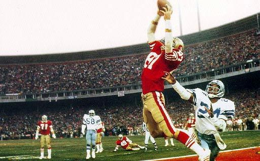 """The Catch"". With 51 seconds left in the 4th Quarter, Dwight Clark catchs Montana's overthrown ball for the 49ers and a snatched victory over Dallas 28-27 (01.10.82): Joe Montana, Greatest Sports, American Football, Dallas Cowboys, Sports Moments, Nfc Championship, 1982 Nfc, Dwight Clarks, San Francisco 49Ers"