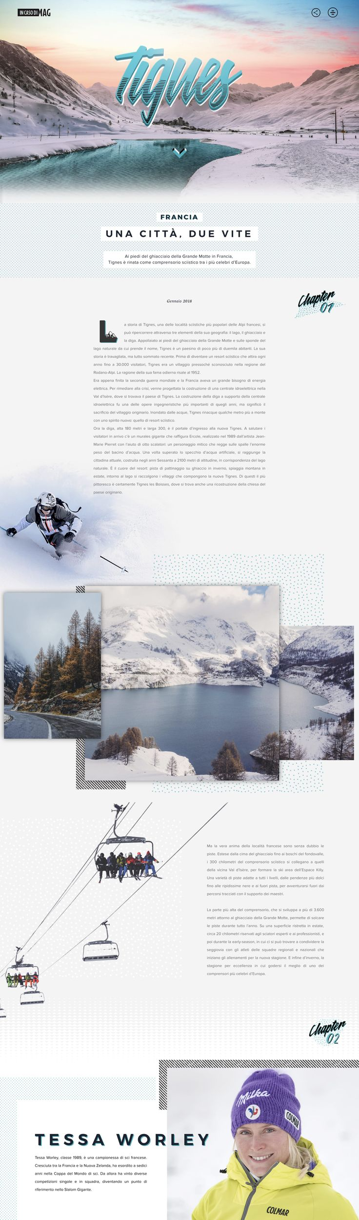 Striking One Pager taking us deep in Austrian ski destination, Tignes. The long-scrolling site features subtle moving water ripples in the intro, slick parallax scrolling elements, an interactive product section and ends strong with a gorgeous big footer image of the downtown streets.
