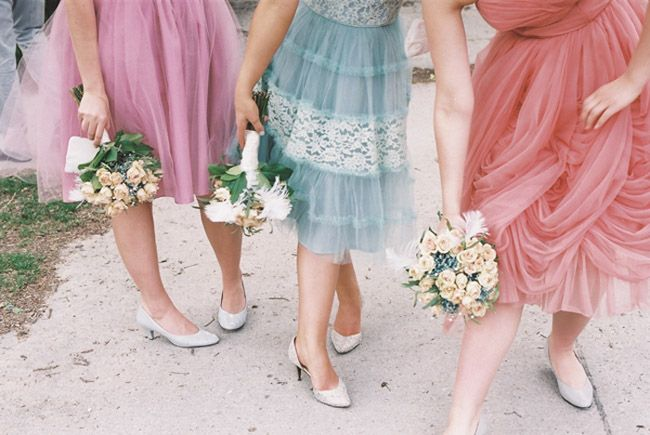 1950's Bridesmaid Dresses- look at the colors on the right and center!