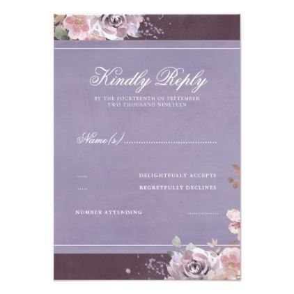 Vintage Floral Plum Lilac and Mauve Wedding RSVP Card - invitations custom unique diy personalize occasions
