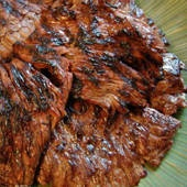 """Skirt steak marinade - quick and easy.  2 T. gf soy sauce, 2 cloves mashed garlic, 1/2 tsp. white pepper, 1 T. oil.  Coat and let sit 20 min, using 2 lbs skirt steak cut in 6"""" pieces.  Season and grill 3 min per side.  Let rest 5 min b/f slicing thin against the grain."""