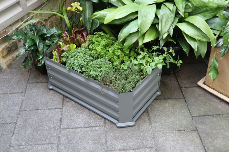 Patio Garden Bed with Base - Slate Grey 800L x 500W x 300H. Comes with water trapping base insert