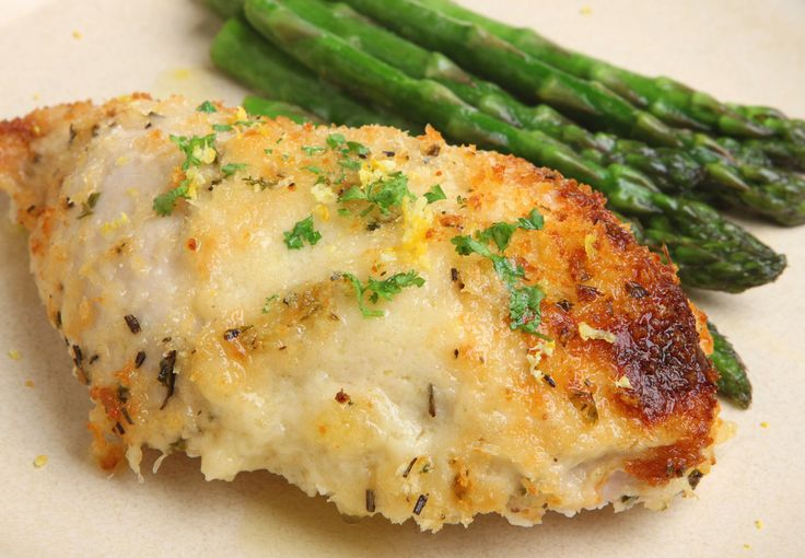 I found this recipe by accident, good thing I did because it's a weekly staple. I love that the Parmesan Cheese acts as breadcrumbs (that's good news for all you carb counters).    [ratings]  Ingredients:      	Chicken Breasts  	Fresh Grated Parmesan Cheese – Do not use the Par