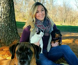 Client Service Representative Tiffany along with dogs Chloe and Dixie Petunia, and cat Pelli. #AnimalHospital #Veterinarian #Vet #Pets #KAH #FrederickMaryland #KingsbrookCSR #Mastiff #Dachshund #Cats