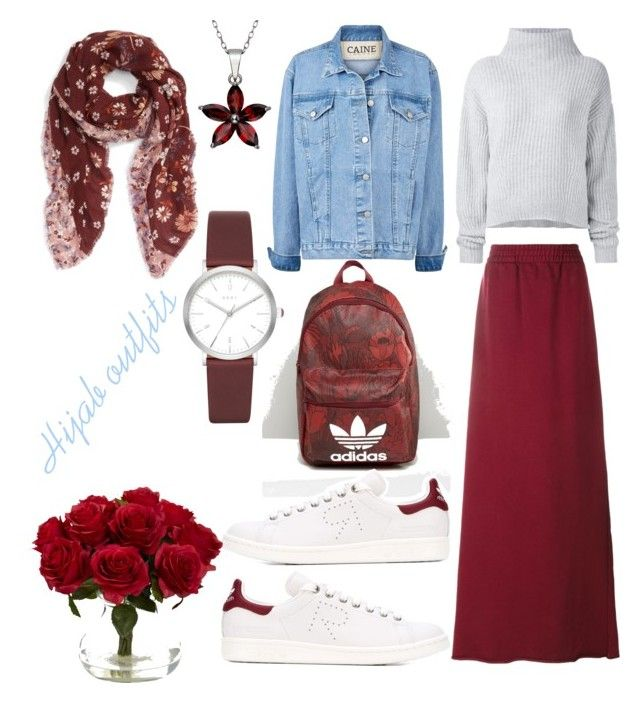"""#Hijab #Burgundy"" by mennah-ibrahim on Polyvore featuring Le Kasha, Vetements, adidas, Hinge, DKNY and Nearly Natural"