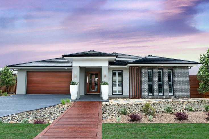 Adenbrook Homes - The Indigo #weeklyhometrends #australianstyle #amazingexteriors #brick #grey #timber http://www.adenbrookhomes.com.au/