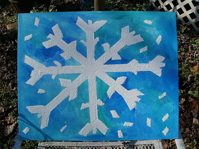 Masking Tape resist snowflake art