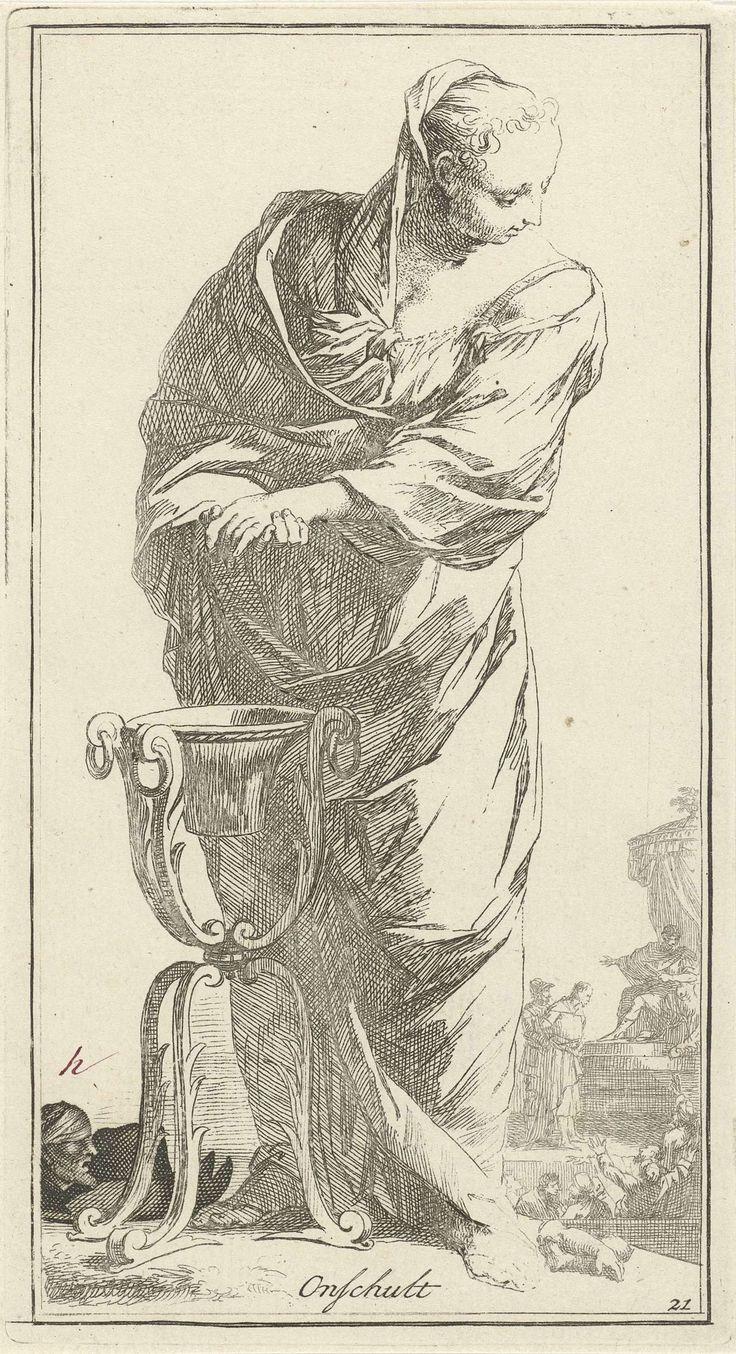 Arnold Houbraken | Personificatie van de onschuld, Arnold Houbraken, 1710 - 1719 | Een vrouwfiguur als personificatie van de onschuld wast haar handen in een bassin op een standaard. Zij kijkt om naar de achtergrond, waar Christus voor Pontius Pilatus is afgebeeld. Hiermee wordt gezinspeeld op de scène waarin Pilatus, die de morele verantwoordelijkheid voor de berechting van Christus niet op zich wilde nemen, zijn handen (in onschuld) wast. Prent uit een serie van 41 zinnebeelden.
