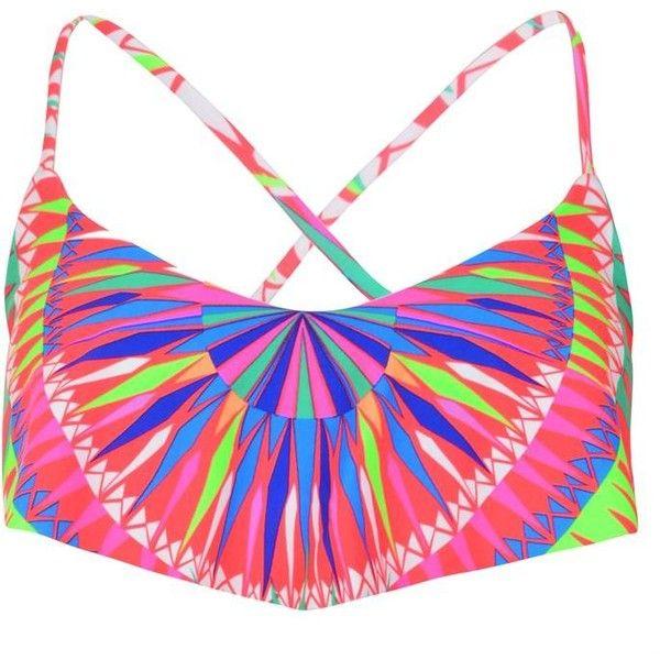 Mara Hoffman Geometric Print Bandeau Bikini Top ($79) ❤ liked on Polyvore featuring swimwear, bikinis, bikini tops, red geo pattern, mara hoffman bikini, red bandeau top, bandeau tops, red bandeau bikini top and strappy bandeau bikini