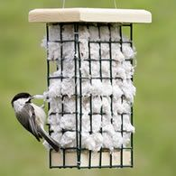 Bird nesting supplies. Baby birds need warm, cozy nests! Cotton tufts and aspen fibers are super-soft, dry fast and give nestlings a comfy cushion to rest on as they grow. Birds instantly recognize these superior materials and return again and again to gather and add them to their nests. Green, vinyl-coated wire basket is filled with cotton and ready to hang. #garden