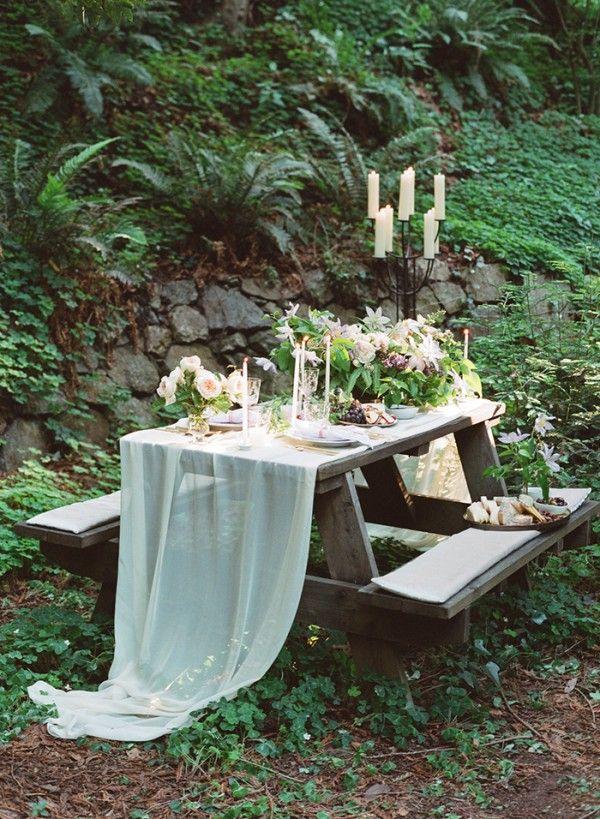 Delicate Forest Elopement: Example table arrangement