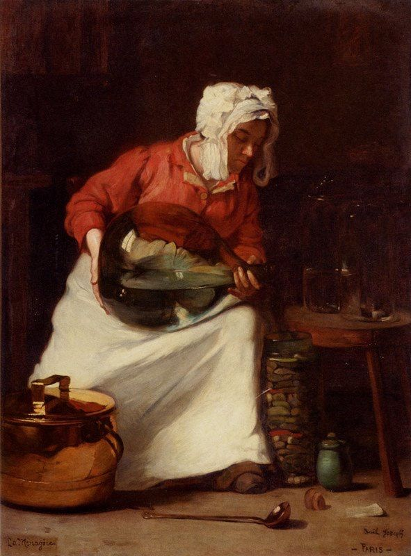 Gisteren een keukenknechtje van de Franse schilder Joseph Claude Bail (1862-1931). Hij heeft meer leuke keukenscenes en gelukkig niet allemaal jongens en jonge mannen. Kijk maar.