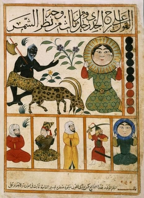 Persian Zodiac Capricorn // Persian astrological treatise from ~9th century - 'Kitâb al-Mawalid' - by Abû Ma'shar, said to have been the most influential document in the development of western astrology. [I believe it is otherwise known as 'The Book of Nativities' or 'The Book of Revolution of the Birth Years'.]