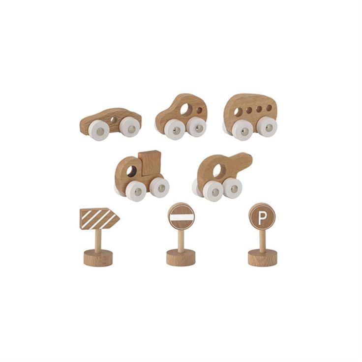 Set van 8 Houten Speelgoed Auto's - 6,5 x 3,5 CM
