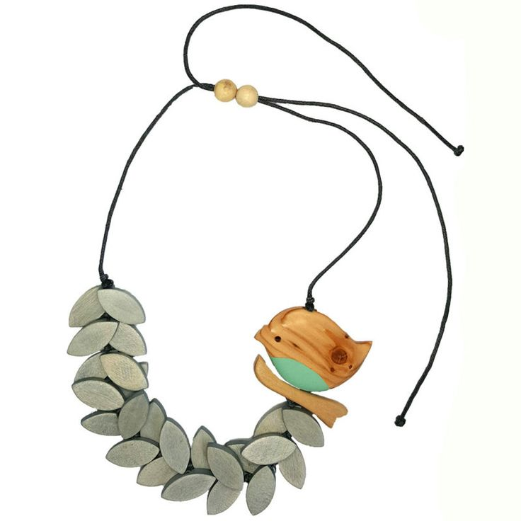 Casual statement necklace from Melzbeads featuring bird on leaves.  This wooden…